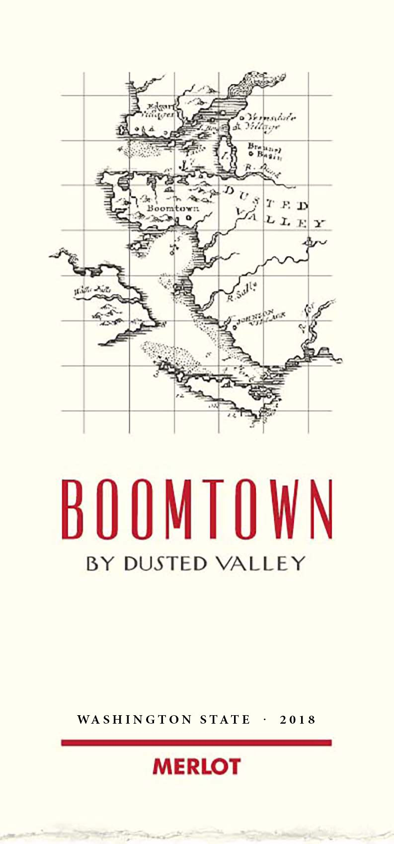 Boomtown by Dusted Valley Merlot 2018  Front Label