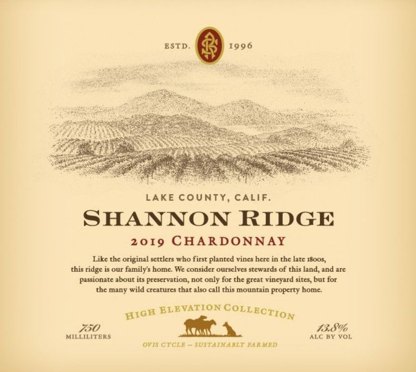 Shannon Ridge High Elevation Chardonnay 2019  Front Label