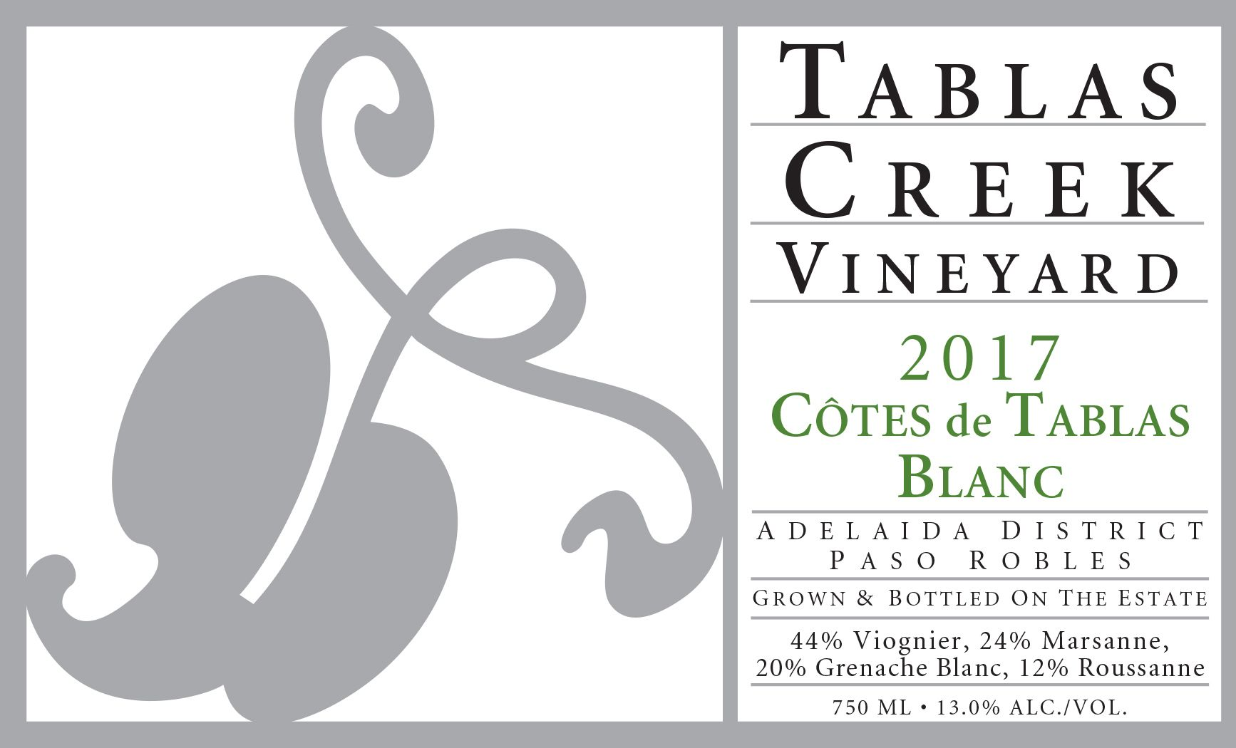 Tablas Creek Cotes de Tablas Blanc 2017  Front Label