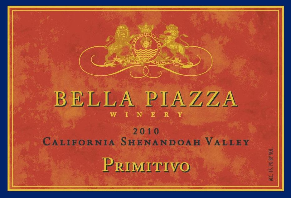 Bella Piazza Primitivo 2010  Front Label