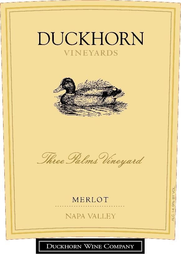 Duckhorn Three Palms Merlot (3 Liter Bottle)  2015 Front Label