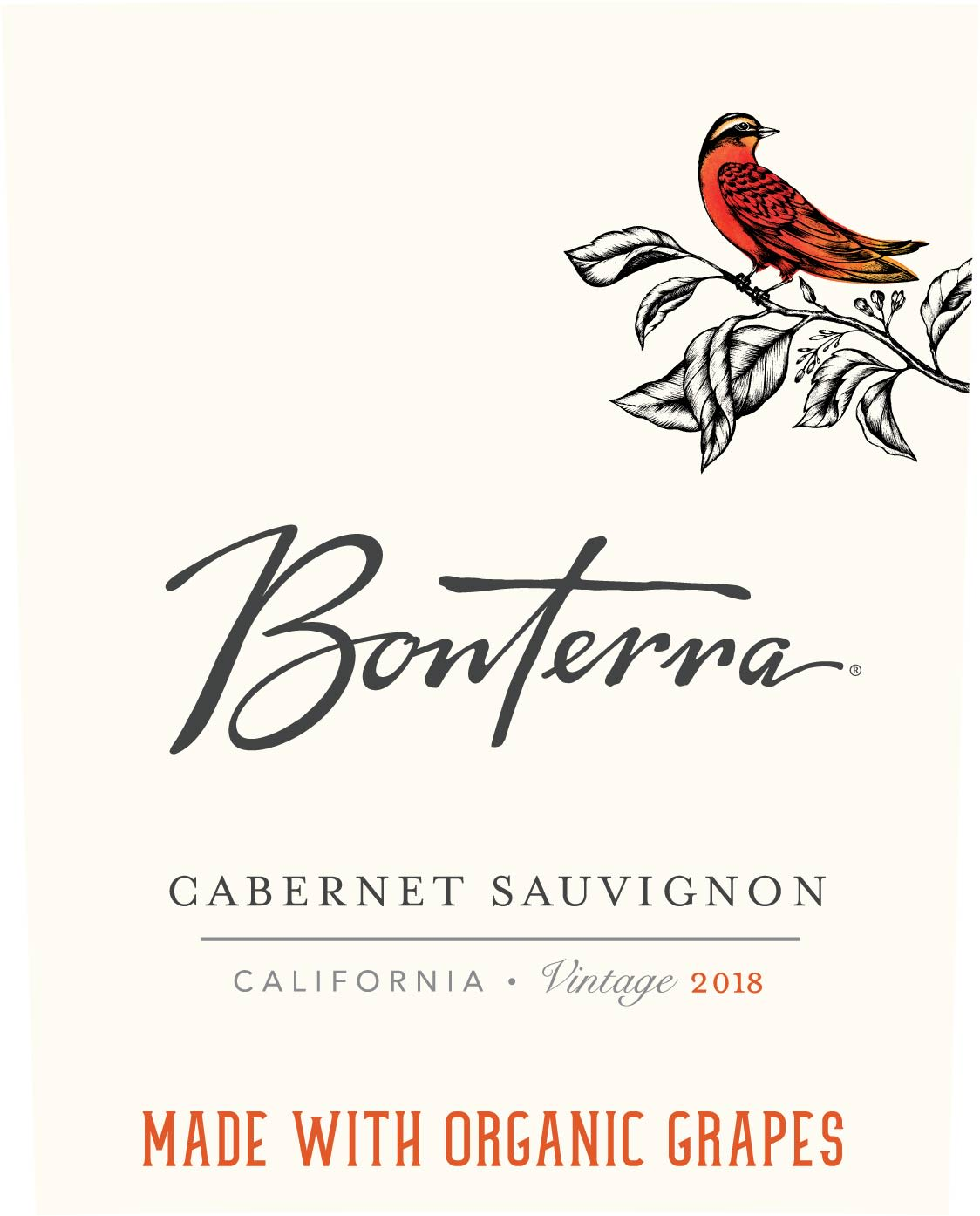 Bonterra Organically Grown Cabernet Sauvignon 2018 Front Label