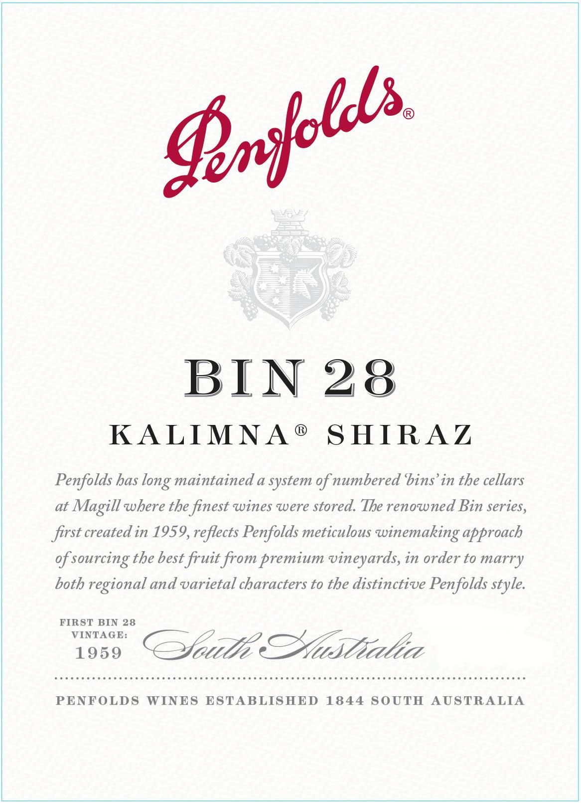Penfolds Kalimna Bin 28 Shiraz 2018  Front Label