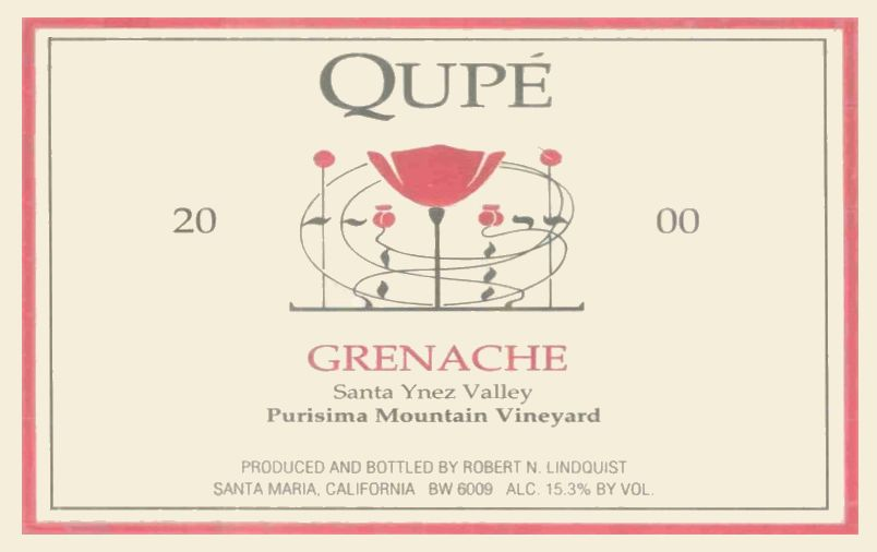 Qupe Purisima Mountain Vineyard Grenache 2000  Front Label