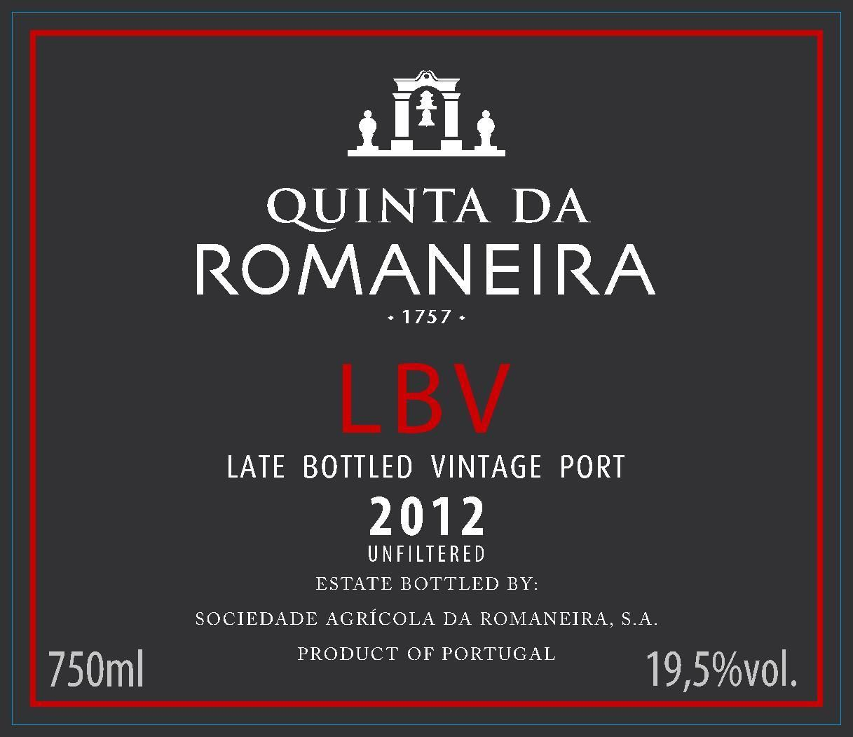 Quinta da Romaneira Late Bottled Vintage Port 2012 Front Label