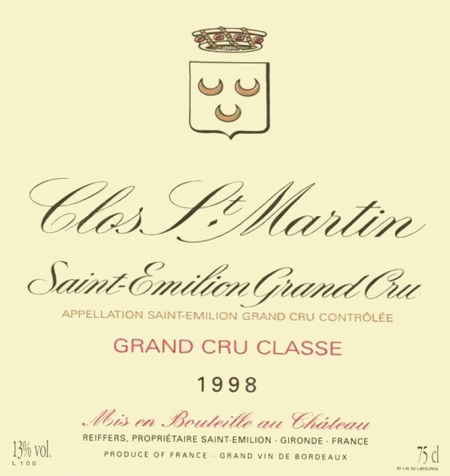 Chateau Clos St. Martin  1998  Front Label