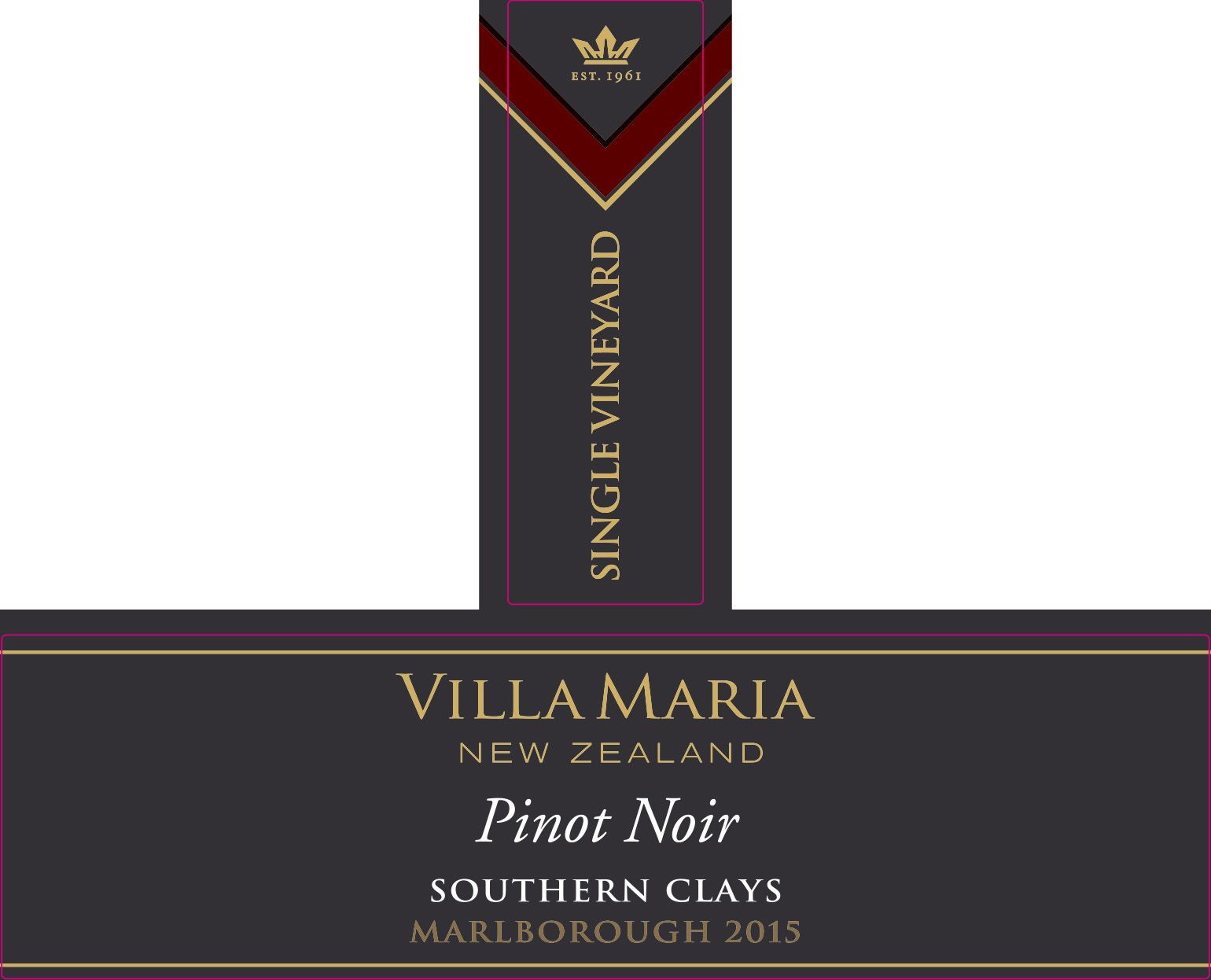 Villa Maria Southern Clays Pinot Noir 2015  Front Label