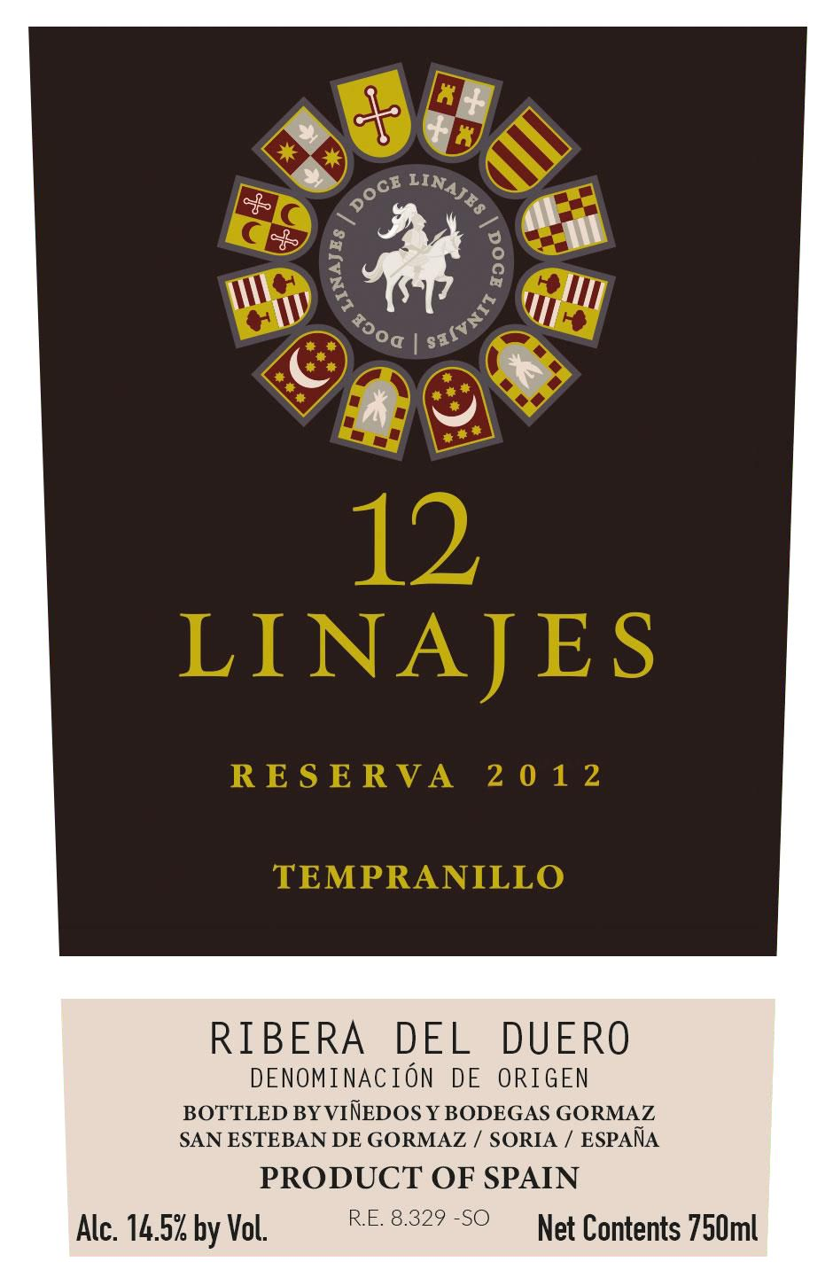 12 Linajes Reserva 2012 Front Label