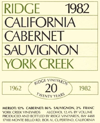 Ridge York Creek Cabernet Sauvignon 1982  Front Label