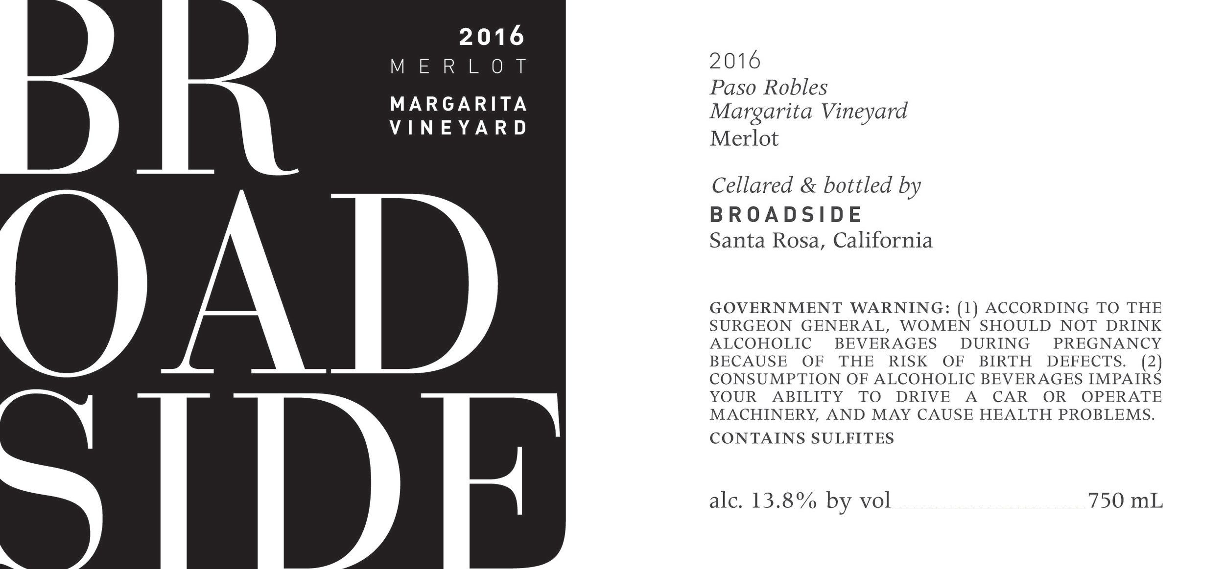 Broadside Margarita Vineyard Merlot 2016 Front Label