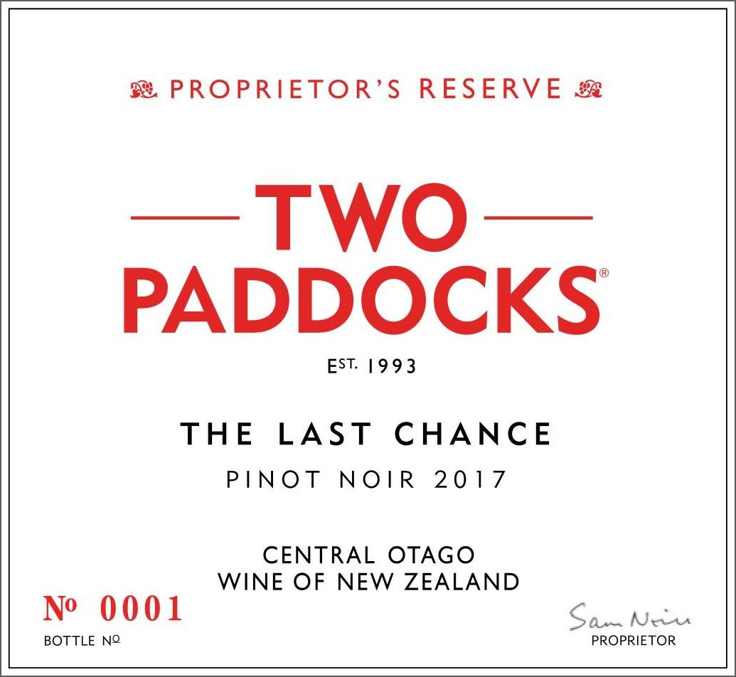 Two Paddocks The Last Chance Pinot Noir 2017  Front Label