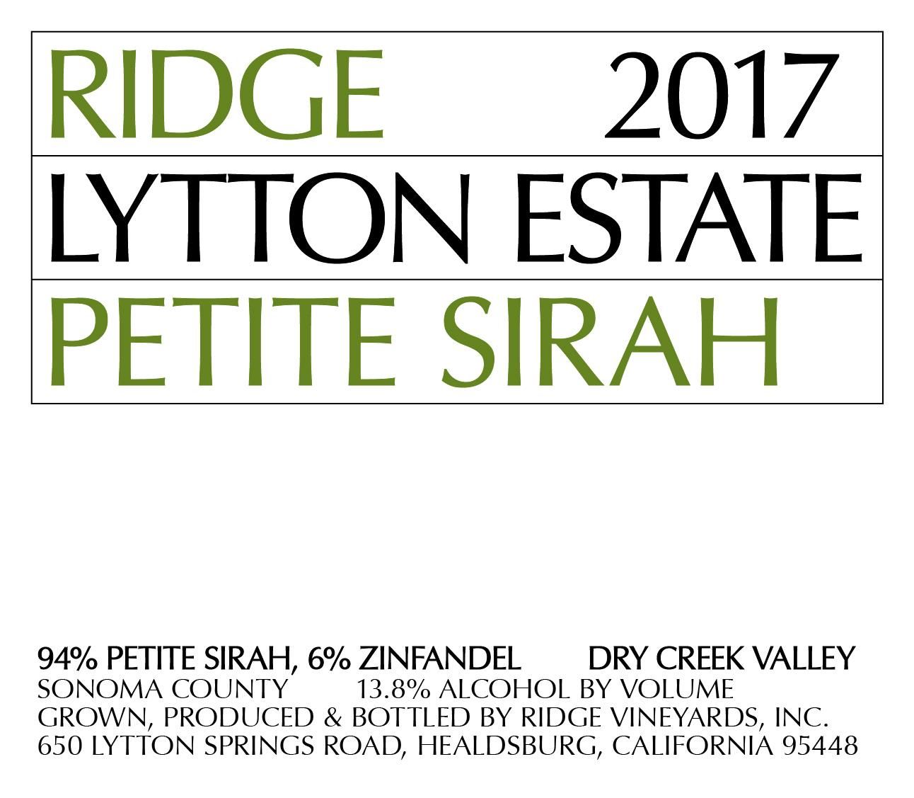 Ridge Lytton Estate Petite Sirah 2017  Front Label