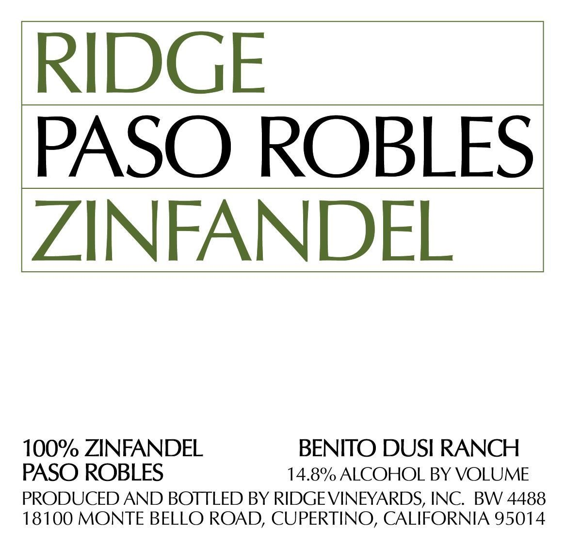 Ridge Paso Robles Zinfandel 2019  Front Label