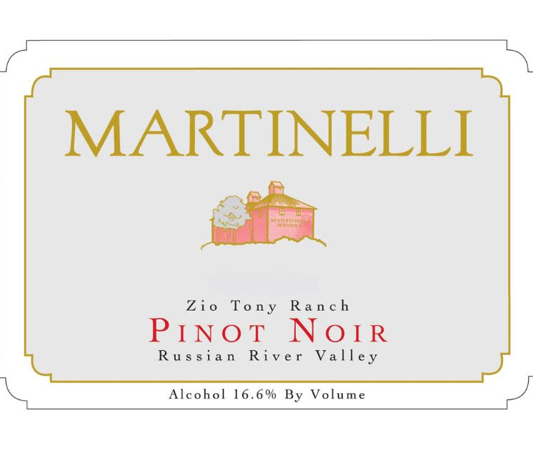 Martinelli Zio Tony Ranch Pinot Noir 2018  Front Label