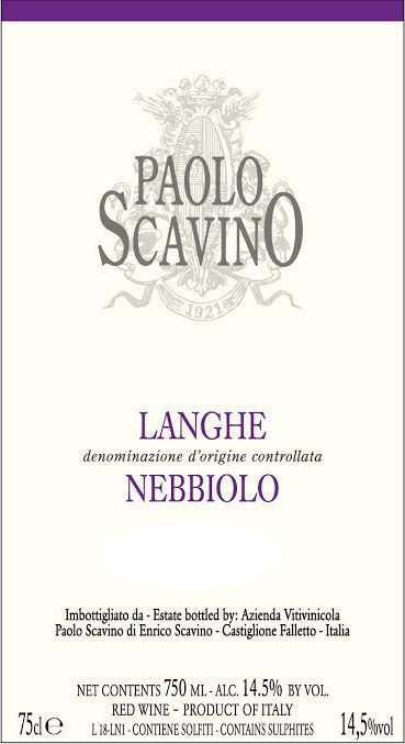 Paolo Scavino Langhe Nebbiolo 2017 Front Label