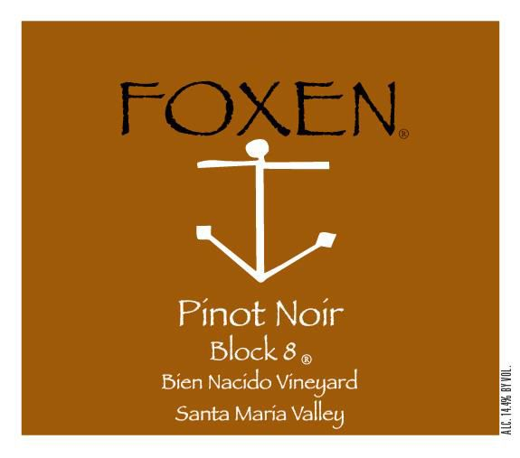 Foxen Bien Nacido Block Eight Pinot Noir 2016  Front Label