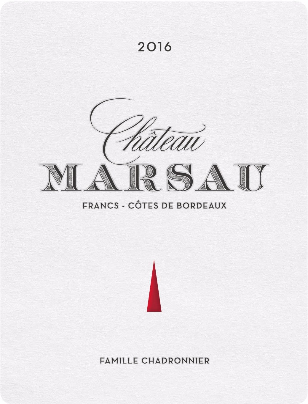 Chateau Marsau  2016  Front Label