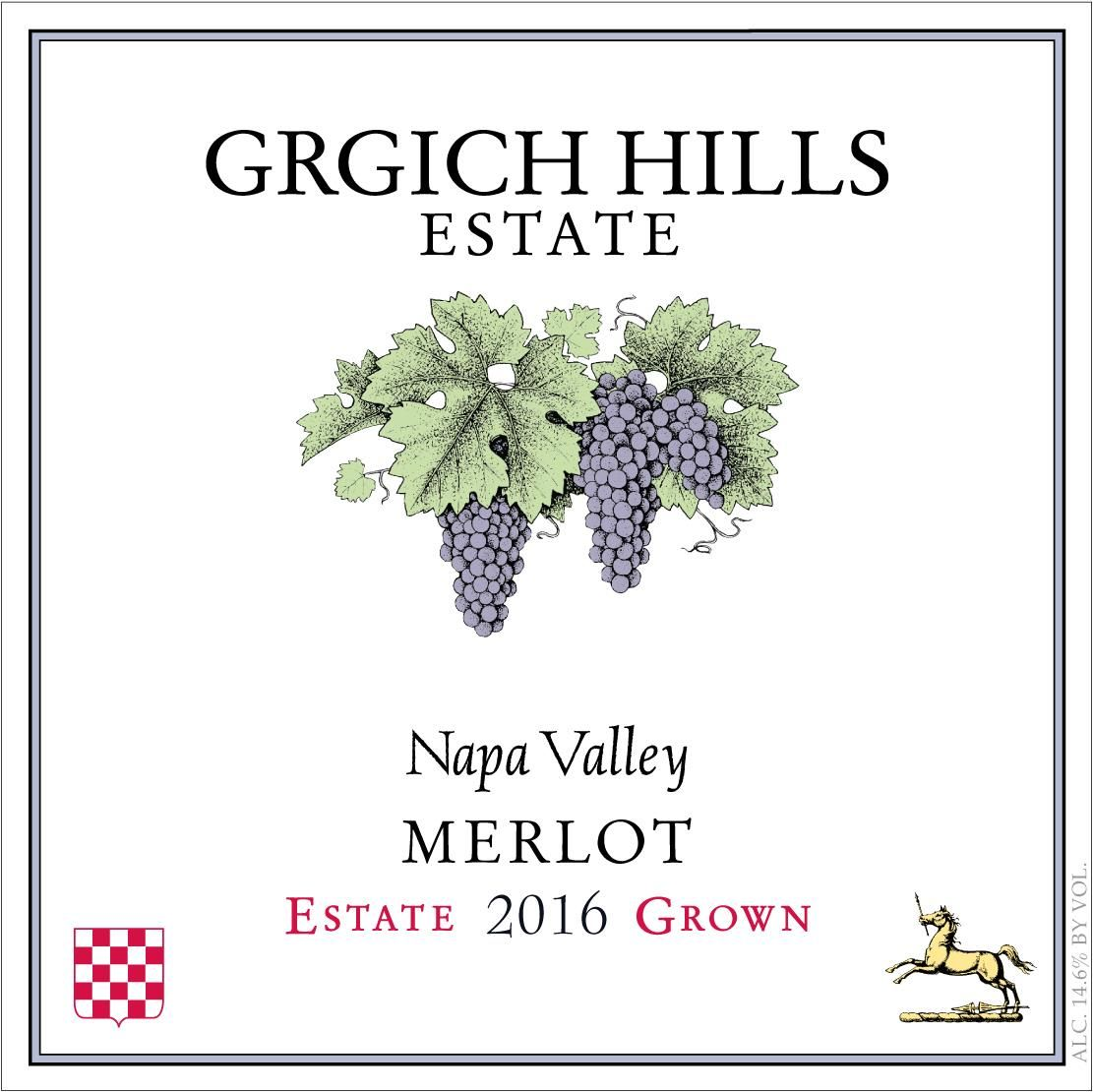 Grgich Hills Estate Merlot 2016  Front Label