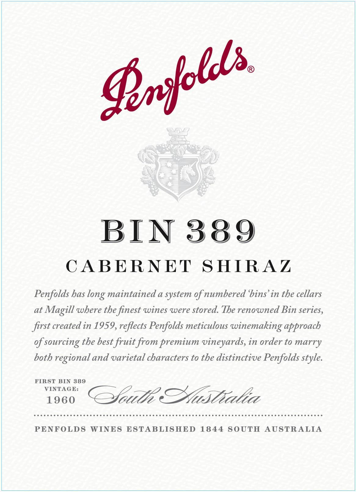 Penfolds Bin 389 Cabernet-Shiraz 2018  Front Label