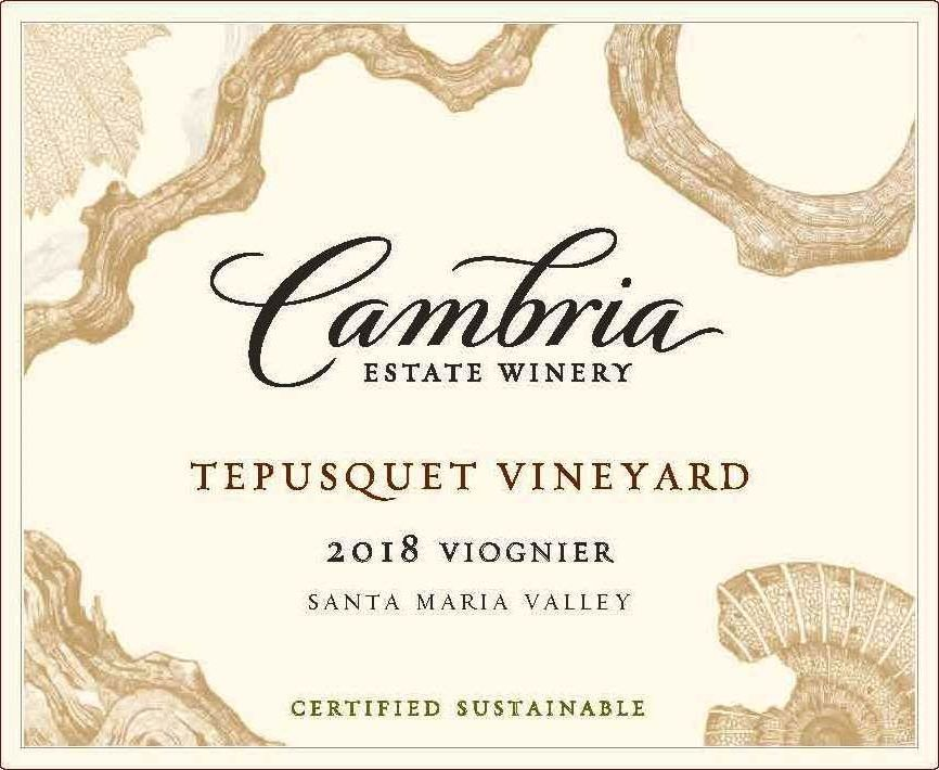 Cambria Tepusquet Vineyards Viognier 2018  Front Label