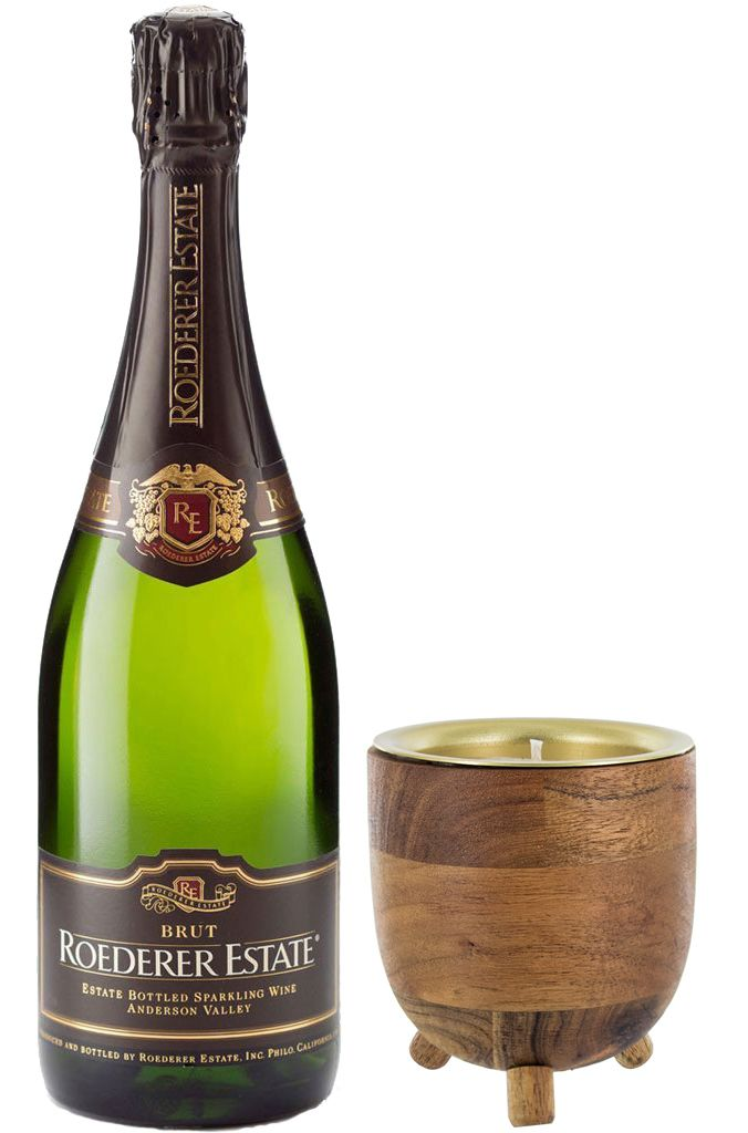 wine.com 92 Point Roederer Estate Brut & Champagne Candle Gift Set  Gift Product Image
