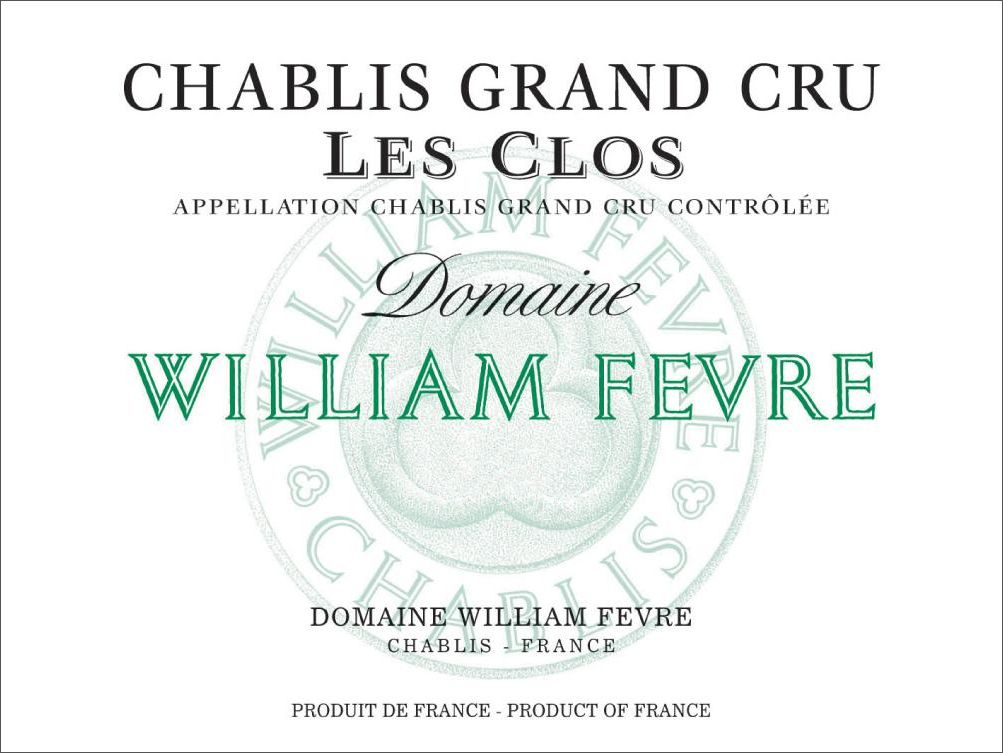 William Fevre Chablis Les Clos Grand Cru (375ML half-bottle) 2015  Front Label