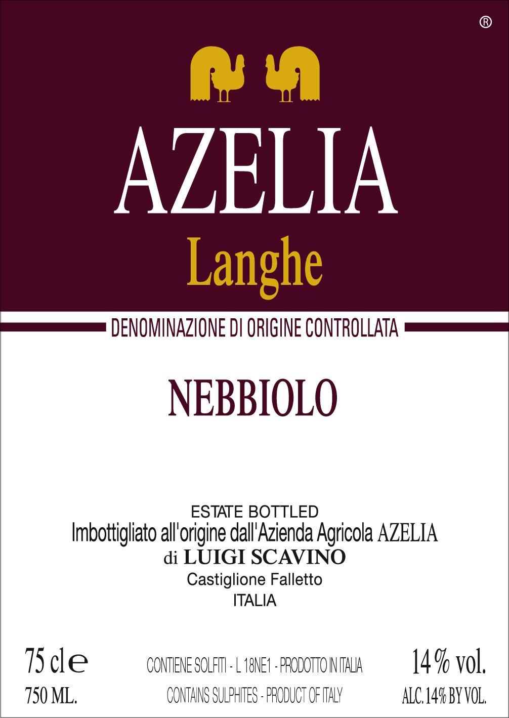 Azelia Langhe Nebbiolo 2018  Front Label