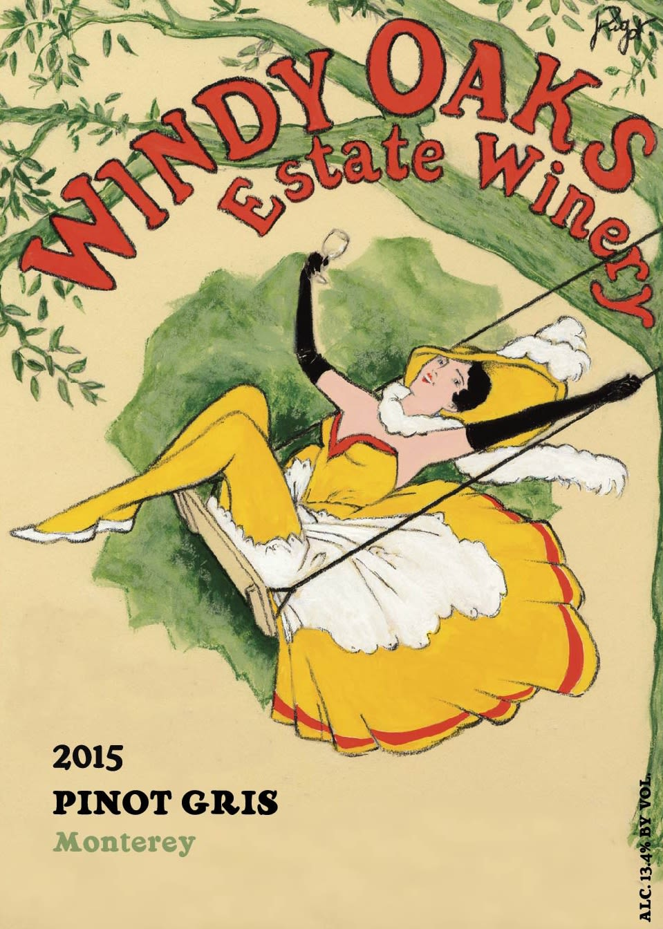 Windy Oaks Pinot Gris 2015  Front Label