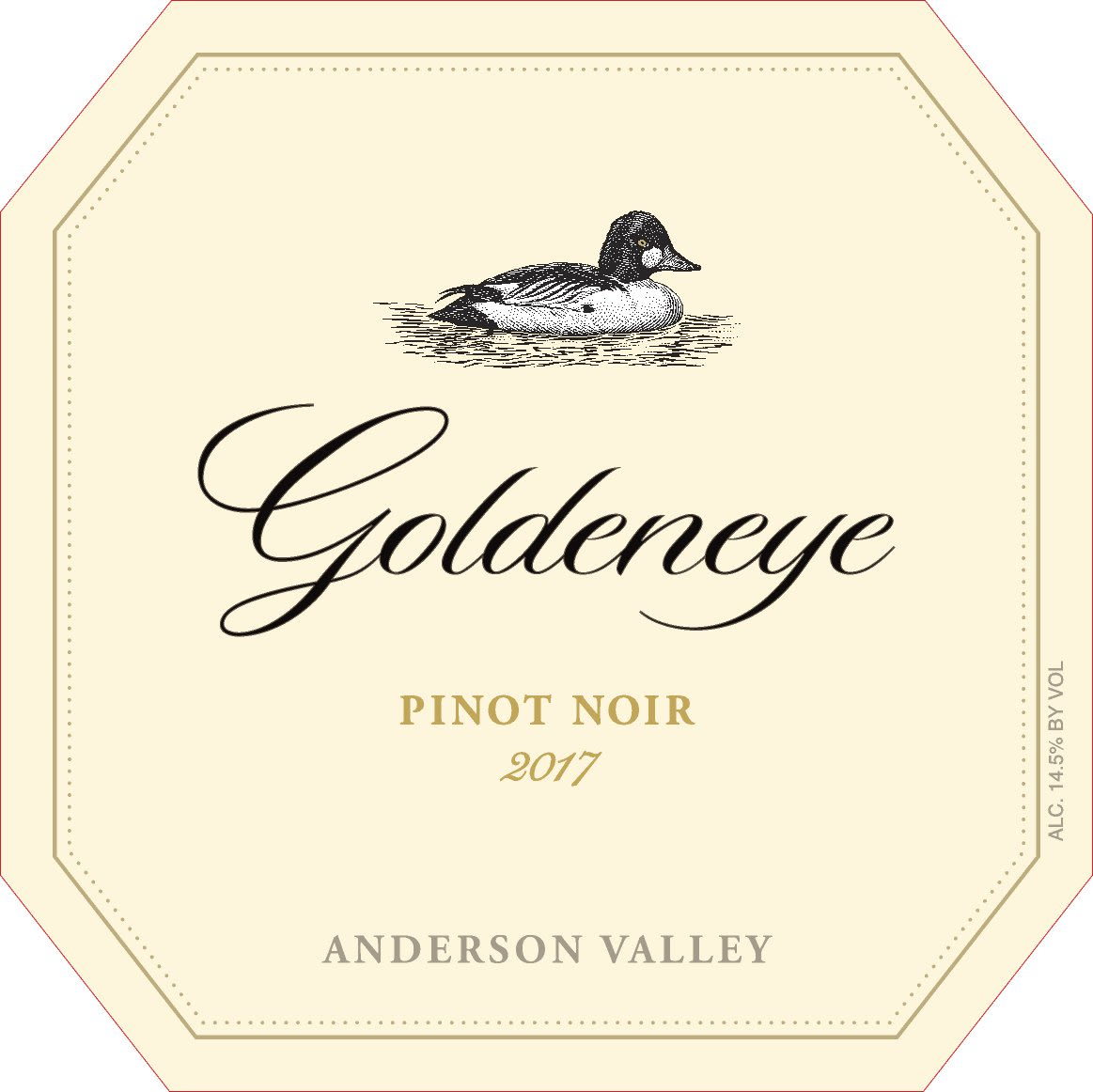 Goldeneye Anderson Valley Pinot Noir 2017  Front Label