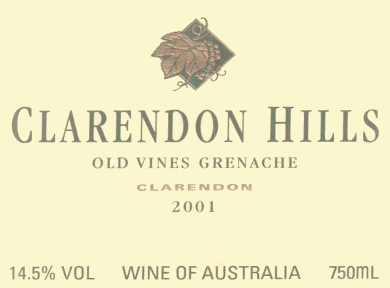 Clarendon Hills Clarendon Vineyard Grenache Old Vines 2001 Front Label