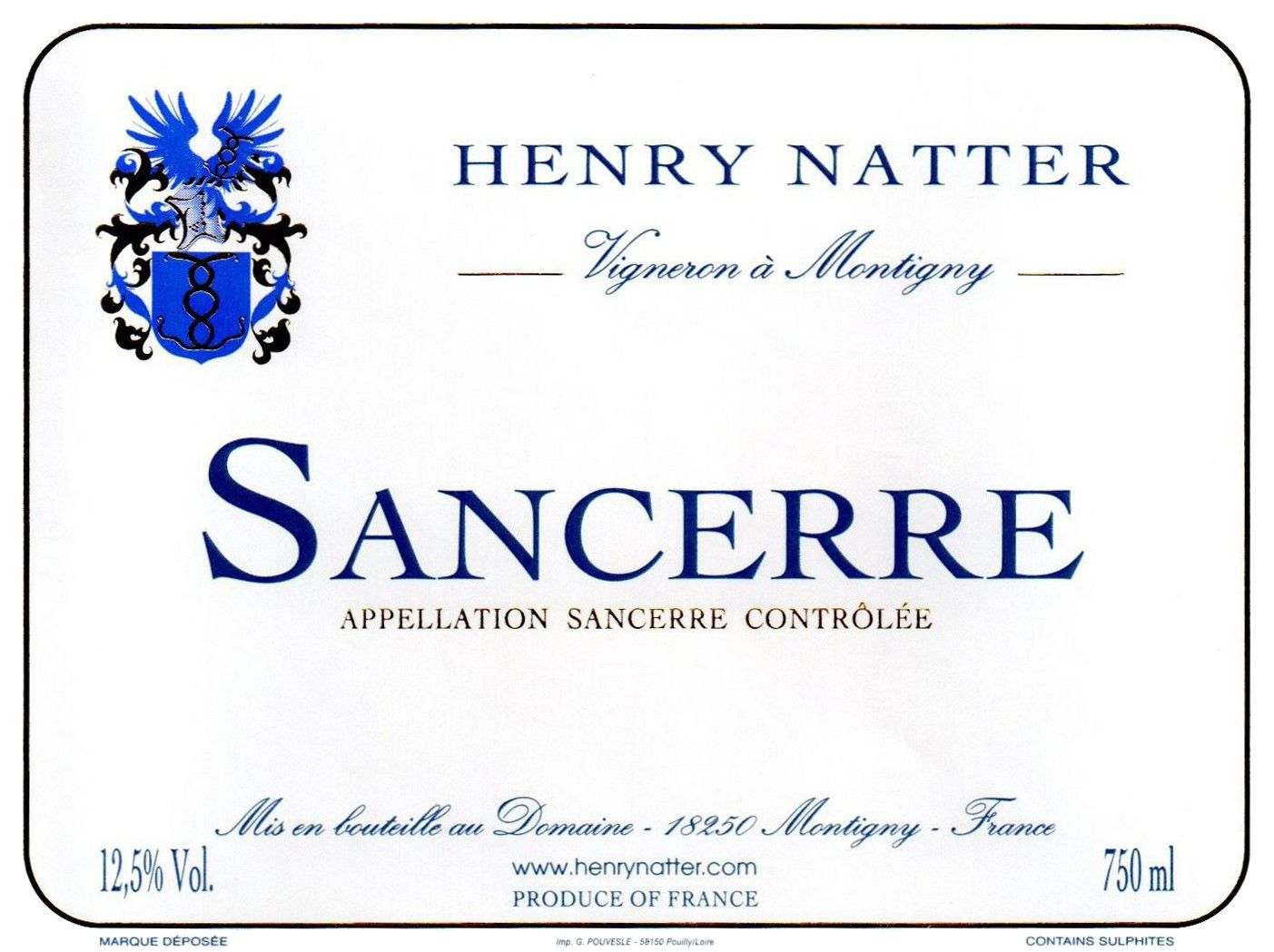 Henry Natter Sancerre Rouge 2017  Front Label