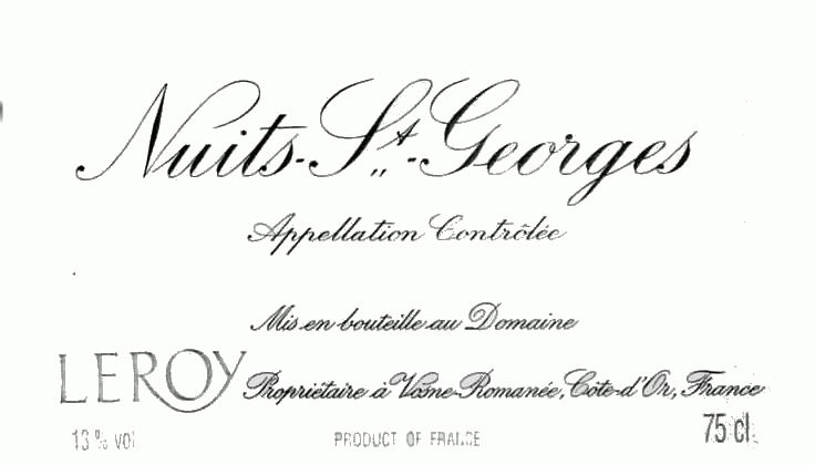 Domaine Leroy Nuits St Georges 2004 Front Label