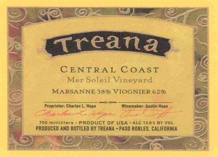 Treana Mer Soleil Vineyard Viognier Marsanne 2000  Front Label