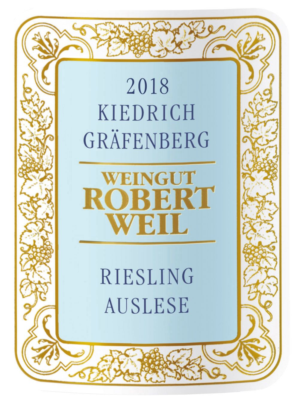 Robert Weil Kiedrich Grafenberg Riesling Auslese (375ML half-bottle) 2018  Front Label