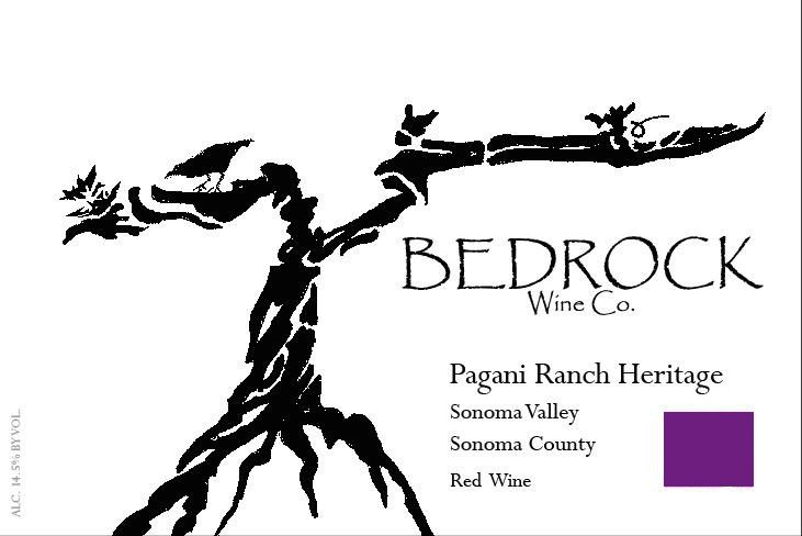 Bedrock Wine Company Pagani Ranch Heritage Red 2016 Front Label