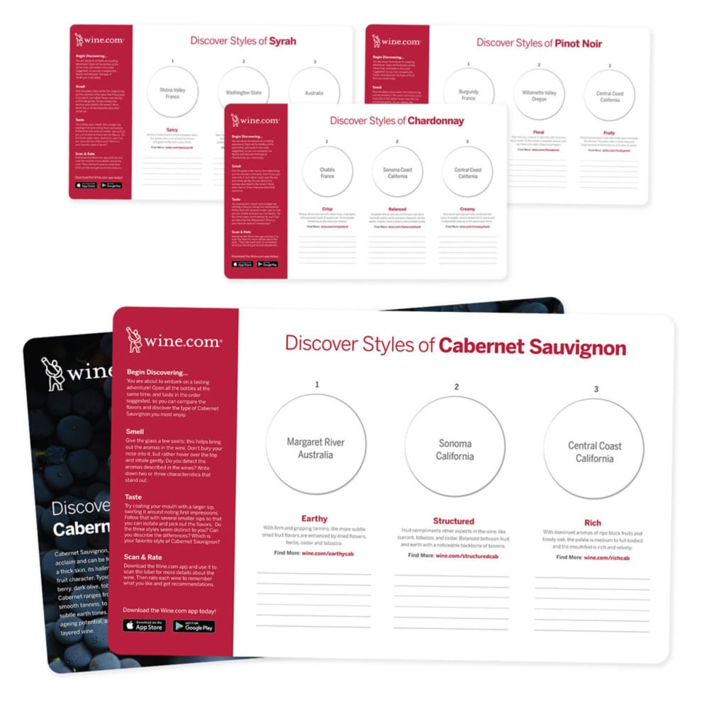 Wine Tasting Case: Styles of Pinot Noir, Cabernet, Chardonnay, and Syrah - Wine Collection Gift