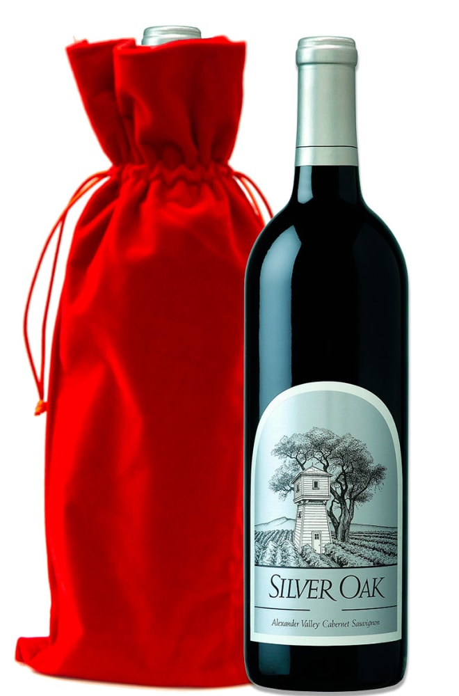 Silver Oak Alexander Valley Cabernet Sauvignon with Red Velvet Gift Bag - Wine Collection Gift