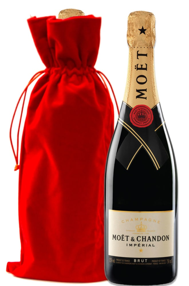Moet & Chandon Imperial Brut with Red Velvet Gift Bag - Wine Collection Gift