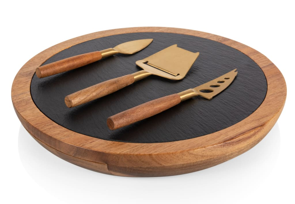 Toscana Acacia and Slate Serving Board with Cheese Tools