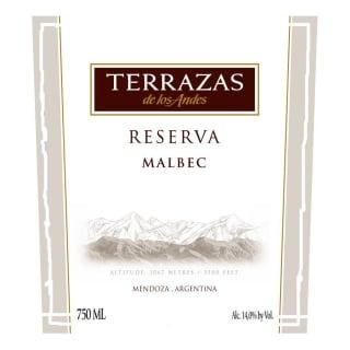 Terrazas De Los Andes Reserva Malbec 2013