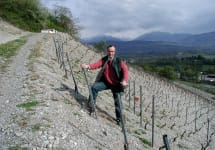 Andre & Michel Quenard Michel Quenard in his hillside vines Winery Image