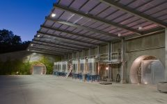 Hourglass Stainless Steel Vats in the Exterior Winery Image