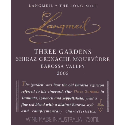 Langmeil Three Gardens SMG 2005 Front Label
