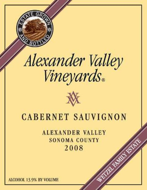 Alexander Valley Vineyards Cabernet Sauvignon 2008 Front Label