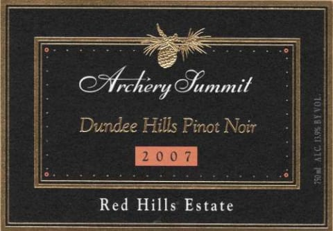 Archery Summit Red Hills Estate Pinot Noir 2007 Front Label