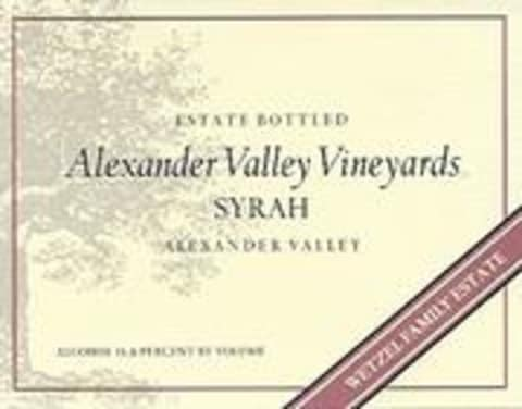 Alexander Valley Vineyards Syrah 1998 Front Label