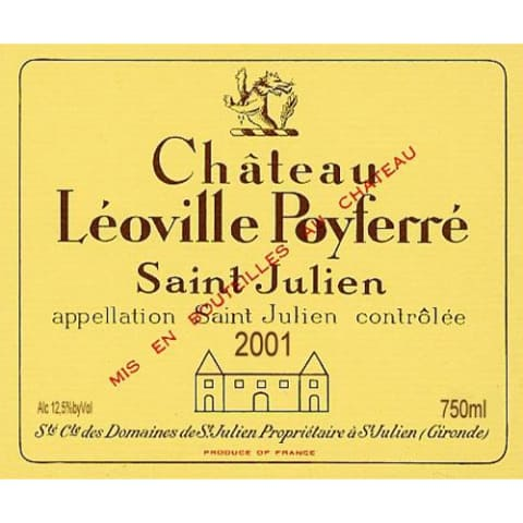 Chateau Leoville Poyferre  2001 Front Label