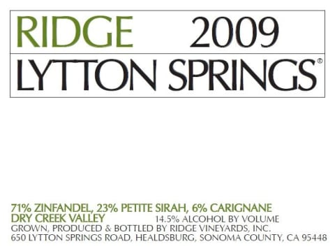Ridge Lytton Springs (375ML half-bottle) 2009 Front Label