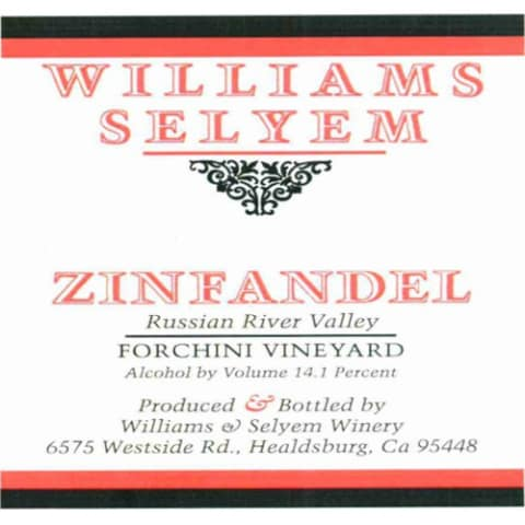 Williams Selyem Forchini Vineyard South Knoll Zinfandel 2009 Front Label