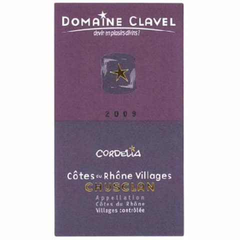 Domaine Clavel Chusclan Cordelia 2009 Front Label